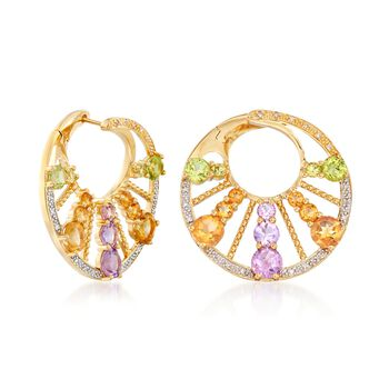 """4.80 ct. t.w. Multi-Stone Front-Facing Hoop Earrings in 18kt Gold Over Sterling. 1"""", , default"""