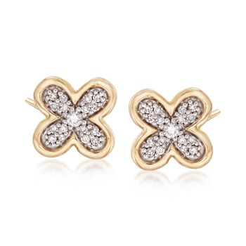 .10 ct. t.w. Diamond Floral Earrings in 14kt Yellow Gold , , default