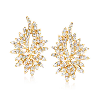1.00 ct. t.w. Diamond Cluster Earrings in 14kt Yellow Gold, , default