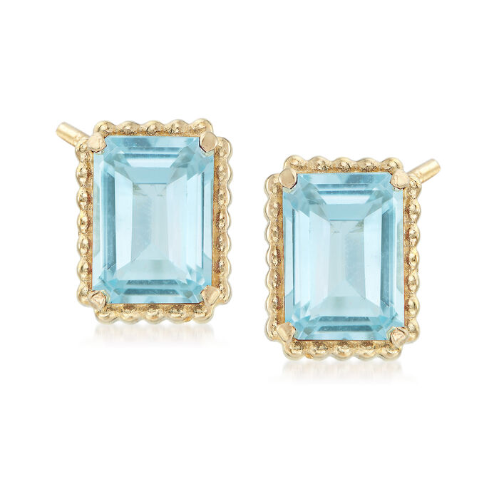 4.00 ct. t.w. Blue Topaz and 14kt Yellow Gold Beaded Frame Earrings, , default