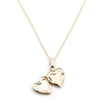 "Child's 14kt Yellow Gold Heart Locket Necklace. 13"", , default"