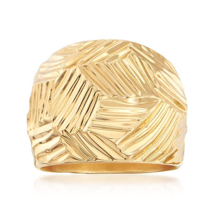 Italian Andiamo 14kt Yellow Gold Geometric Textured Dome Ring, , default