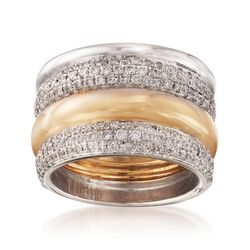 "C. 2000 Vintage Pomellato ""Tubolare"" 2.50 ct. t.w. Diamond Multi-Row Ring in 18kt Two-Tone Gold. Size 10, , default"