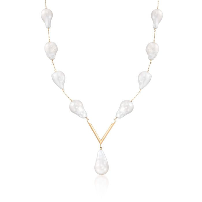 12-14mm Cultured Baroque Pearl V-Necklace in 14kt Yellow Gold, , default