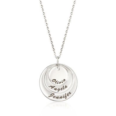 Sterling Silver Three-Name Multi-Disc Pendant Necklace, , default