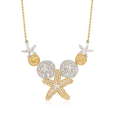 .50 ct. t.w. Pave Diamond Sea Life Necklace in Two-Tone Sterling Silver, , default