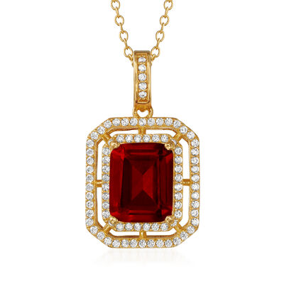 .50 Carat Simulated Ruby and .40 ct. t.w. CZ Pendant Necklace in 18kt Gold Over Sterling