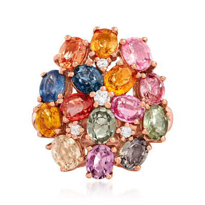 5.75 ct. t.w. Multicolored Sapphire and .10 ct. t.w. Diamond Ring in 14kt Rose Gold, , default
