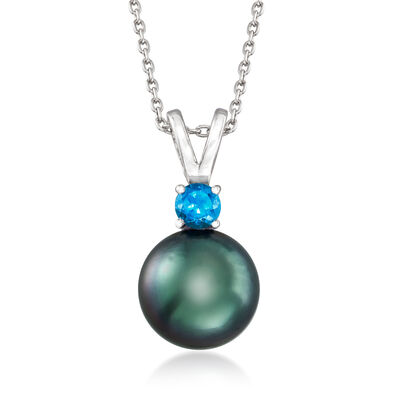 Cultured Tahitian Pearl and .80 Carat London Blue Topaz Pendant Necklace in Sterling Silver