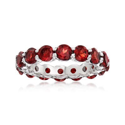 4.50 ct. t.w. Garnet Eternity Band in Sterling Silver