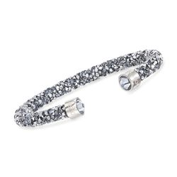 "Swarovski Crystal ""Dust"" Metallic Gray Crystal Cuff Bracelet in Stainless Steel, , default"