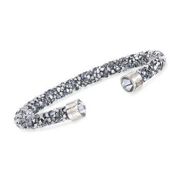 "Swarovski Crystal ""Dust"" Metallic Gray Crystal Cuff Bracelet in Stainless Steel. 7"", , default"