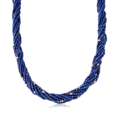 2-6mm Lapis Torsade Necklace with 14kt Yellow Gold, , default