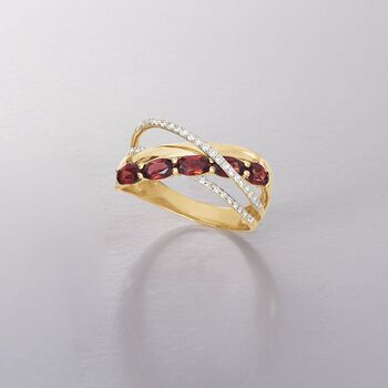 1.30 ct. t.w. Garnet and .20 ct. t.w. Diamond Highway Ring in 14kt Yellow Gold, , default