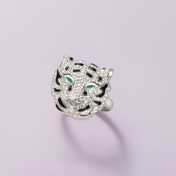 Black Onyx and .85 ct. t.w. Diamond Tiger Ring With Emerald Accents in 18kt White Gold, , default