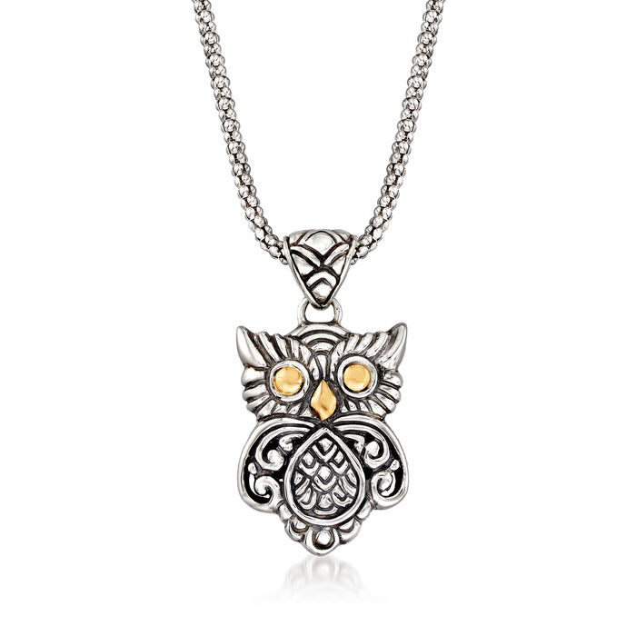 Sterling Silver and 18kt Gold Bali-Style Owl Pendant Necklace