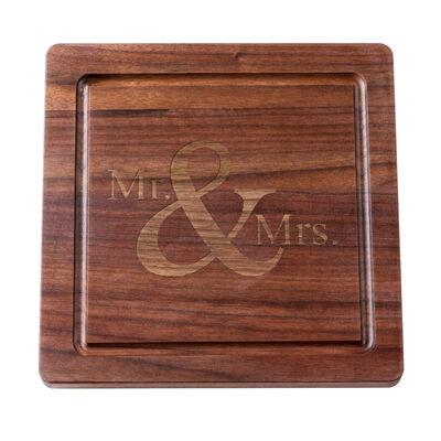 """""""Mr. & Mrs."""" Black Walnut Cutting Board, , default"""
