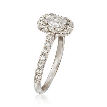 Henri Daussi 1.42 ct. t.w. Diamond Halo Engagement Ring in 18kt White Gold, , default