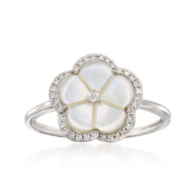 Mother-Of-Pearl Floral Ring with Diamond Accents in 14kt White Gold, , default