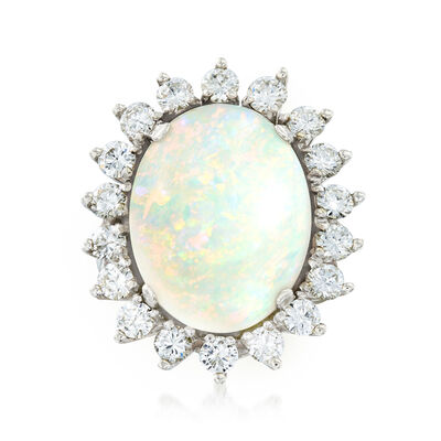 C. 1960 Vintage Opal and 1.75 ct. t.w. Diamond Ring in 14kt White Gold, , default