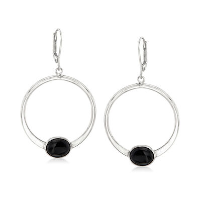 Black Onyx Circle Drop Earrings in Sterling Silver