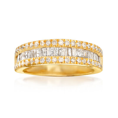 1.00 ct. t.w. Round and Baguette Diamond Ring in 18kt Gold Over Sterling
