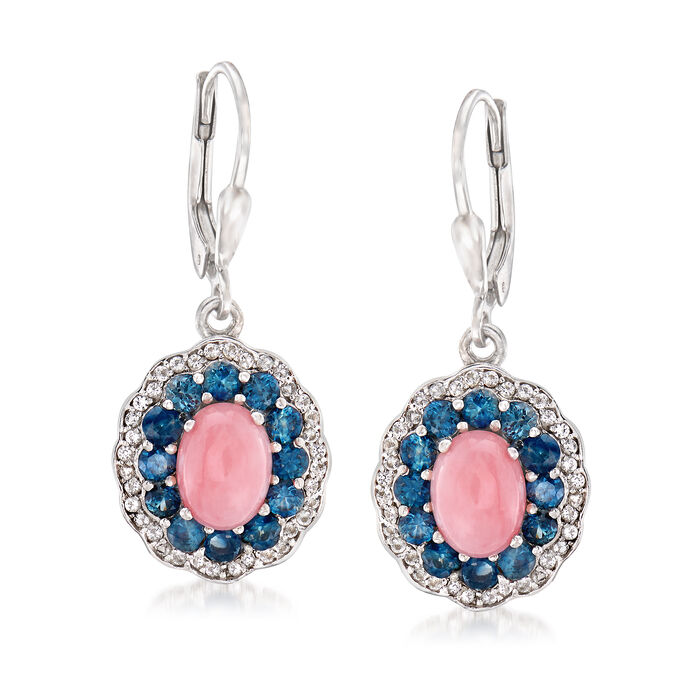Pink Opal, 1.30 ct. t.w. Sapphire and .30 ct. t.w. White Topaz Drop Earrings in Sterling Silver