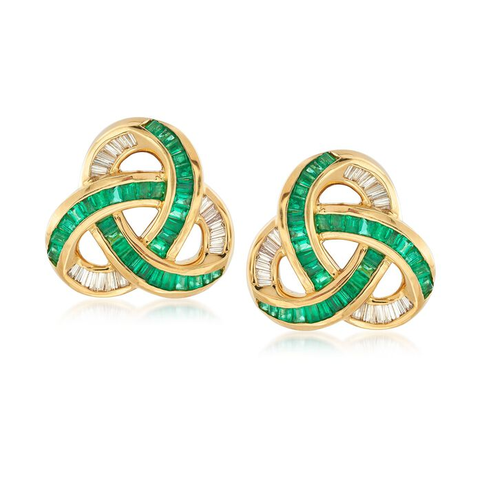C. 2000 Vintage 2.75 ct. t.w. Emerald and .75 ct. t.w. Diamond Trinity Knot Earrings in 18kt Yellow Gold