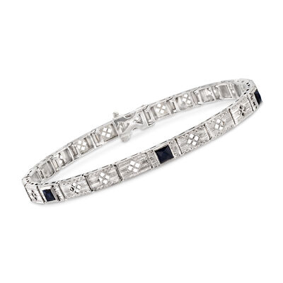 C. 1990 Vintage .50 ct. t.w. Simulated Sapphire Bracelet in 14kt White Gold, , default