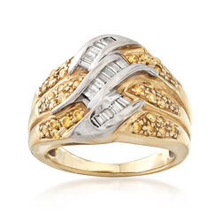 C. 1980 Vintage .75 ct. t.w. Yellow and White Diamond Ring in 14kt Yellow Gold, , default