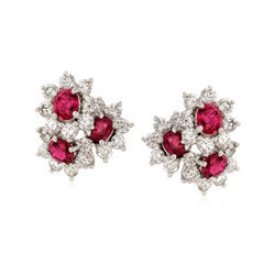 C. 1990 Vintage 1.86 ct. t.w. Ruby and 1.60 ct. t.w. Diamond Flower Clip-On Earrings in Platinum, , default