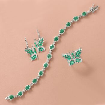 9.10 ct. t.w. Emerald Bracelet in Sterling Silver, , default