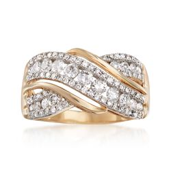 1.00 ct. t.w. Diamond Crisscross Ring in 14kt Yellow Gold, , default