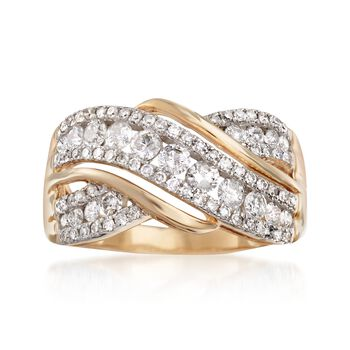 1.00 ct. t.w. Diamond Crisscross Ring in 14kt Yellow Gold, , default