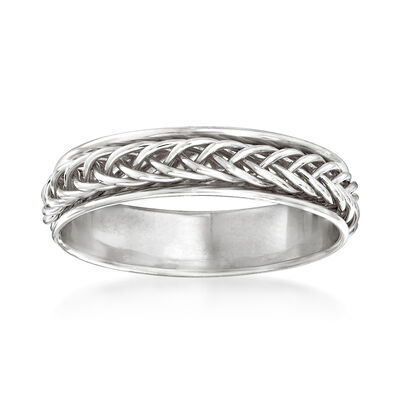 14kt White Gold Small Braided Band Ring, , default
