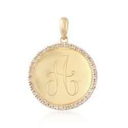 .12 ct. t.w. Diamond Single Initial Pendant in 14kt Yellow Gold, , default