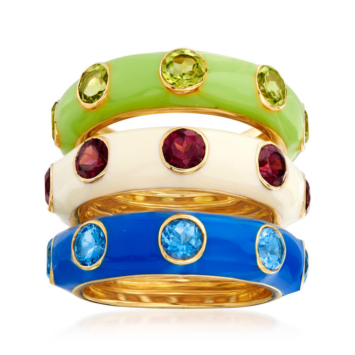 4.50 ct. t.w. Multi-Gemstone Jewelry Set: Three Multicolored Enamel Rings in 18kt Gold Over Sterling