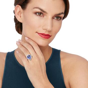 C. 1980 Vintage 8.71 Carat Tanzanite and 1.60 ct. t.w. Diamond Ring in Platinum. Size 6.5, , default