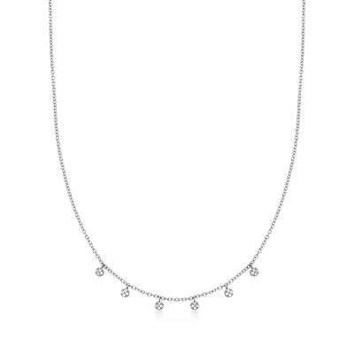 14kt White Gold Pave Diamond Accented Station Necklace, , default