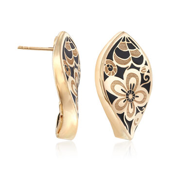 Italian 14kt Yellow Gold and Black Enamel Floral Drop Earrings, , default