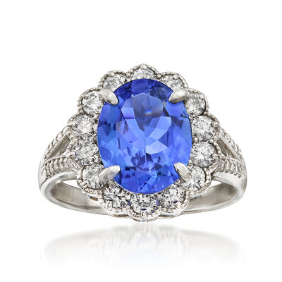 C. 1990 Vintage 2.74 Carat Tanzanite and .76 ct. t.w. Diamond Ring in Platinum, , default