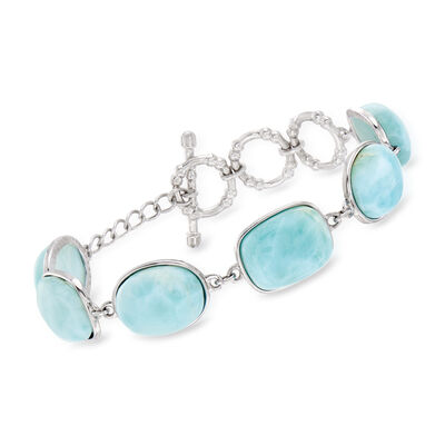 Larimar Station Bracelet in Sterling Silver, , default