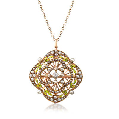 C. 1950 Vintage Cultured Pearl and .20 Carat Diamond with Green Enamel Pin/Pendant in 14kt Yellow Gold, , default