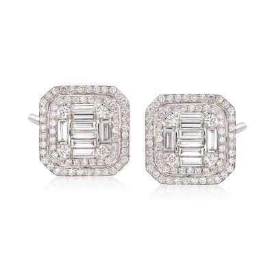 2.25 ct. t.w. Diamond Mosaic Earrings in 18kt White Gold, , default
