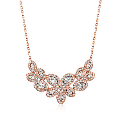 "Swarovski Crystal ""Baron"" Crystal Leaf-Style Necklace in Rose Gold Plate"