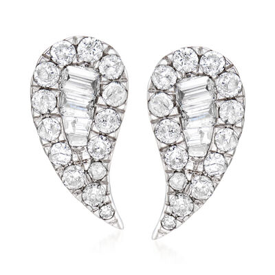.50 ct. t.w. Diamond Curved Earrings in 14kt White Gold
