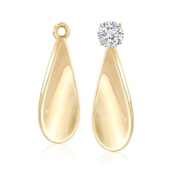 14kt Yellow Gold Paddle Drop Earring Jackets, , default