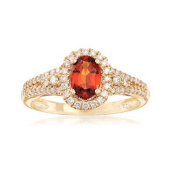 .90 Carat Oval Orange Garnet and .33 ct. t.w. Diamond Halo Ring in 14kt Yellow Gold, , default