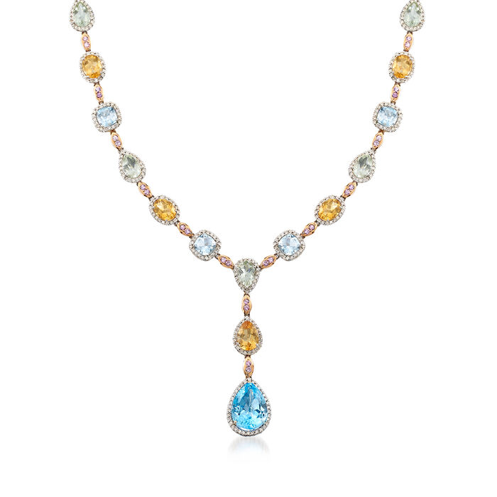 C. 1990 Vintage 32.20 ct. t.w. Multi-Gemstone and 4.74 ct. t.w. Diamond Y-Necklace in 18kt White Gold. 16.5""