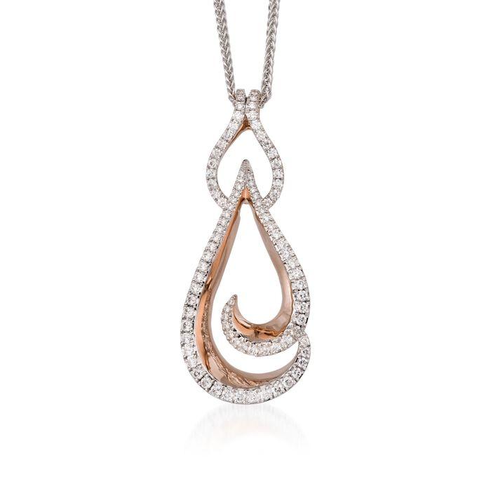 "Simon G. .82 ct. t.w. Diamond Pendant Necklace in 18kt Two-Tone Gold. 18"", , default"
